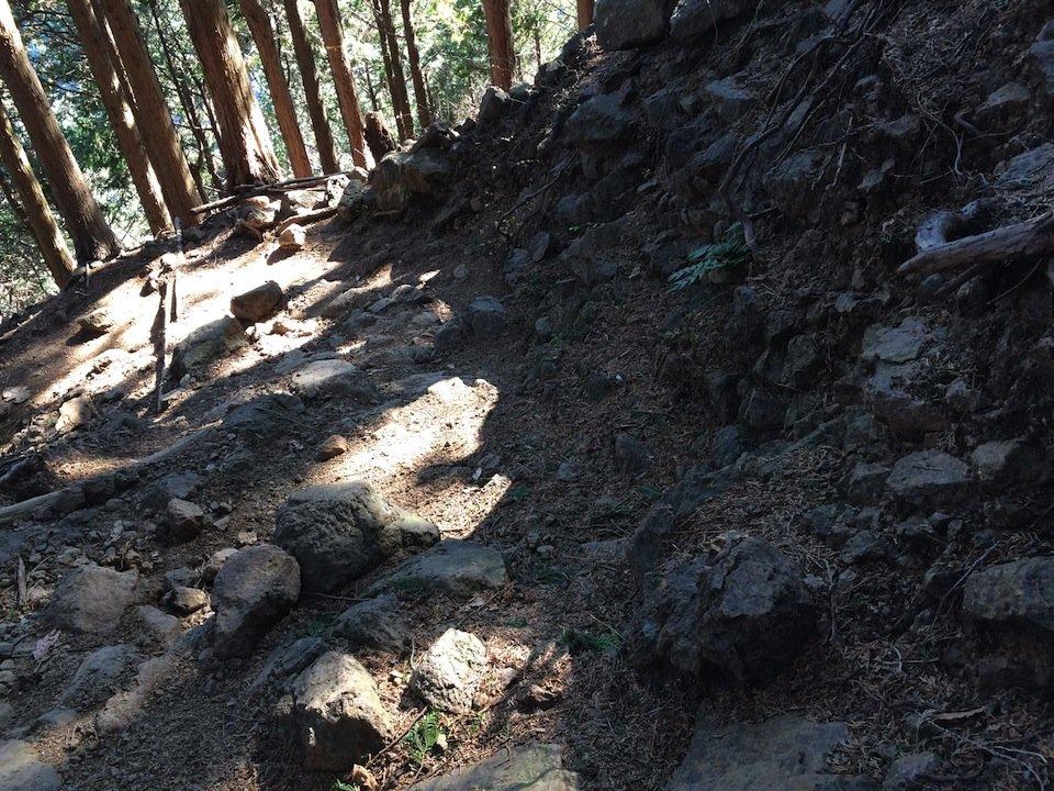 岩がゴツゴツした足場