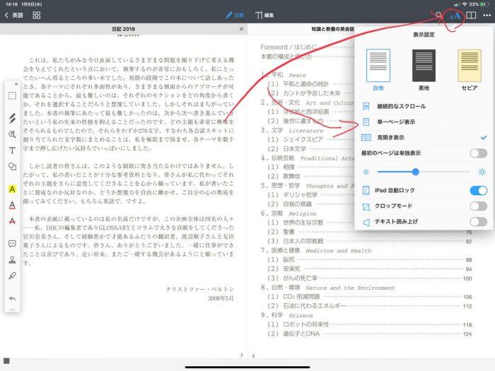 pdf expert アプリでPDFファイルを2pの見開き表示で開いています。