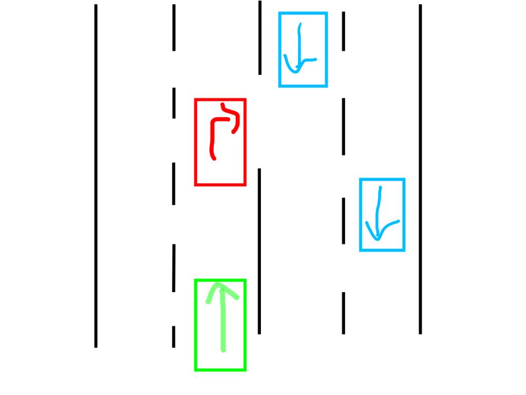 二車線道路の右側で右折待ち