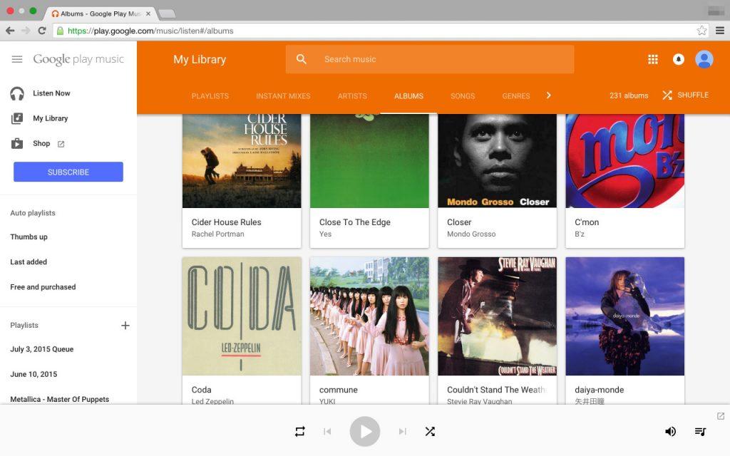 google play musicのスクリーンショット