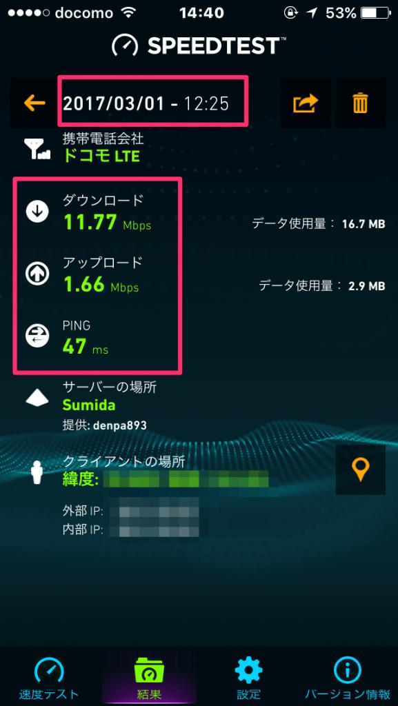 lineモバイル3月の速度(混雑時)