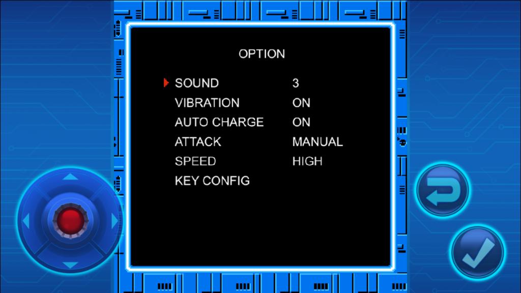ロックマンモバイルのオプション設定