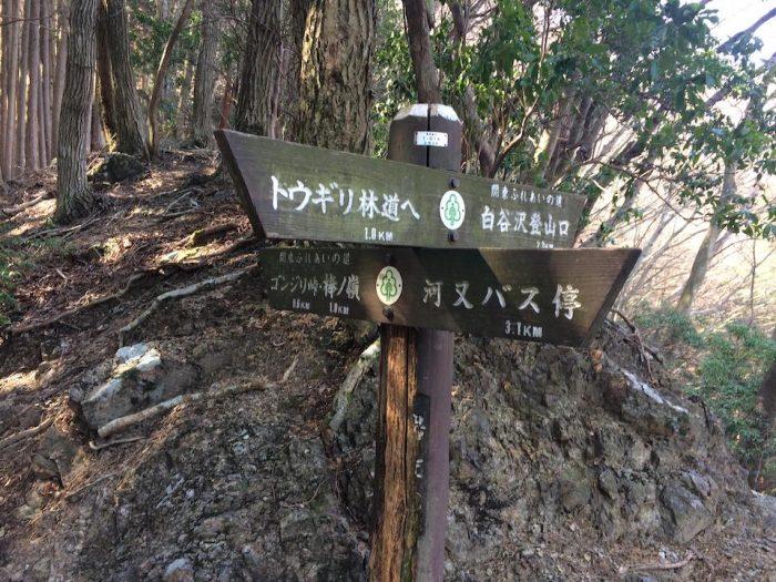 岩茸石の分岐案内