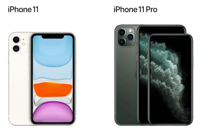 iPhone 11の白とiPhone 11 Proのグリーンの画像です
