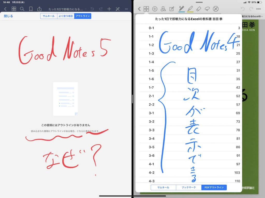 GoodNotes 4と5で目次表示を比較
