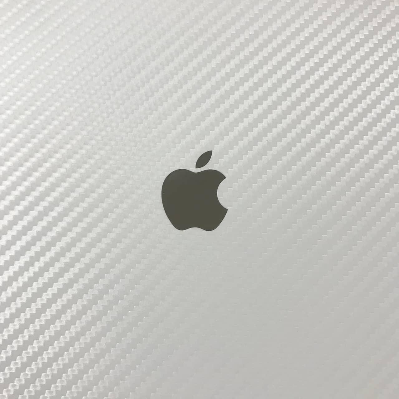 正方形の真ん中にApple のシルバーロゴがあります。