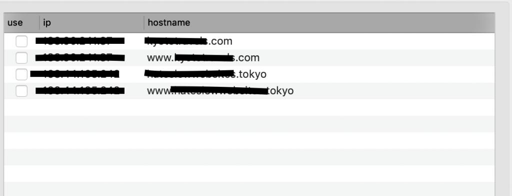 hostsファイルの編集例