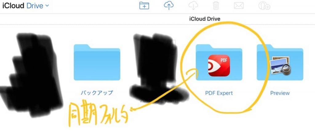 iCloudの中に生成された同期用フォルダ