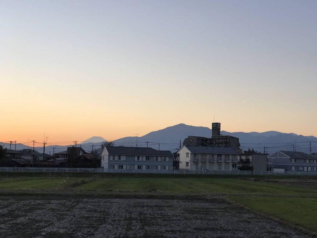 海老名グリーンセンターから見える富士山の夕焼け