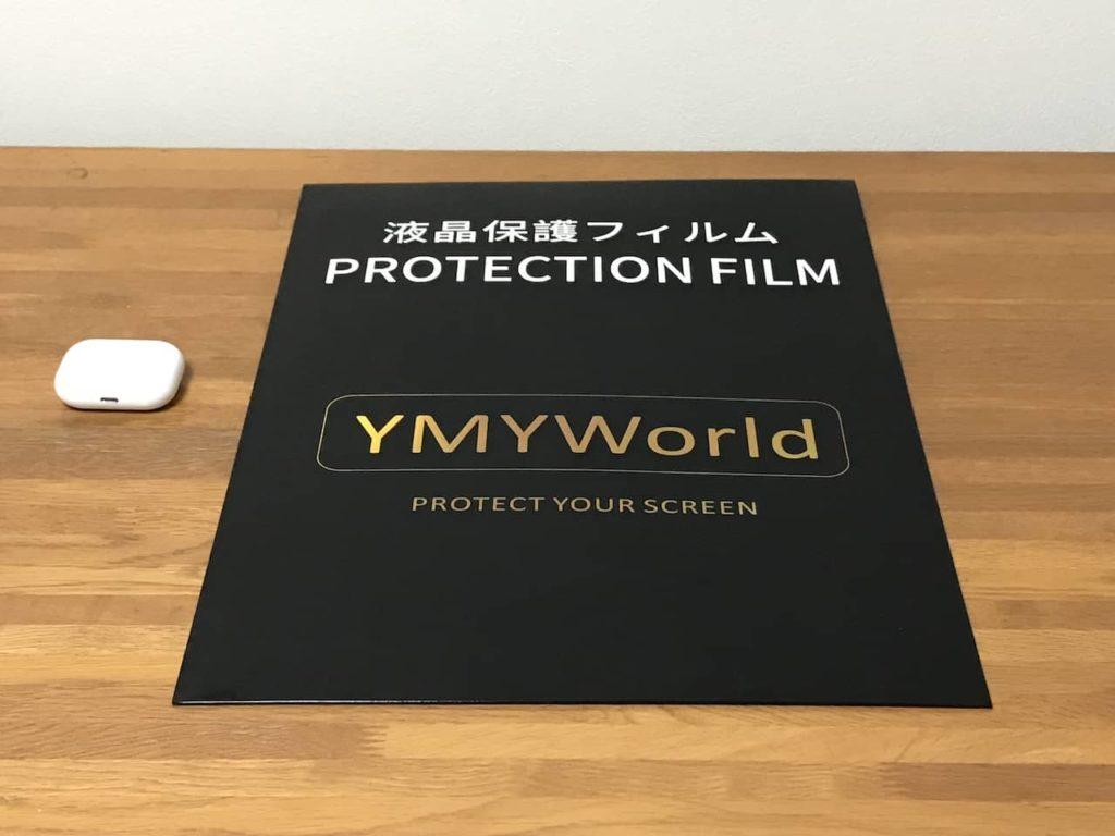 YMYWorld 覗き見防止フィルターのパッケージとairpods pro