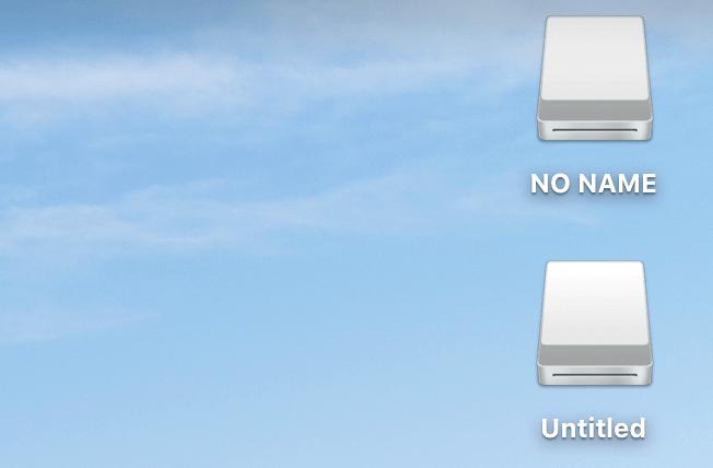Macのデスクトップに表示された外部ストレージ