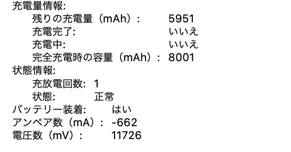 Apple 認定整備済のMac 開封時のバッテリーの充放電回数