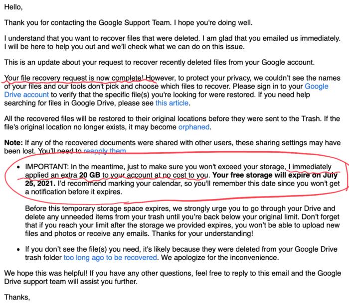 google drive ファイル復元の完了メール